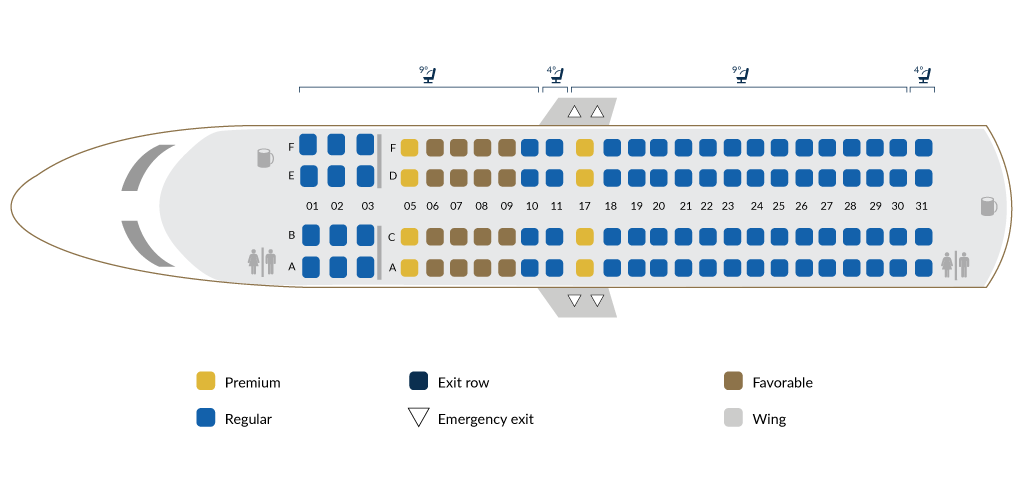 Embraer 190AR B - Seat map