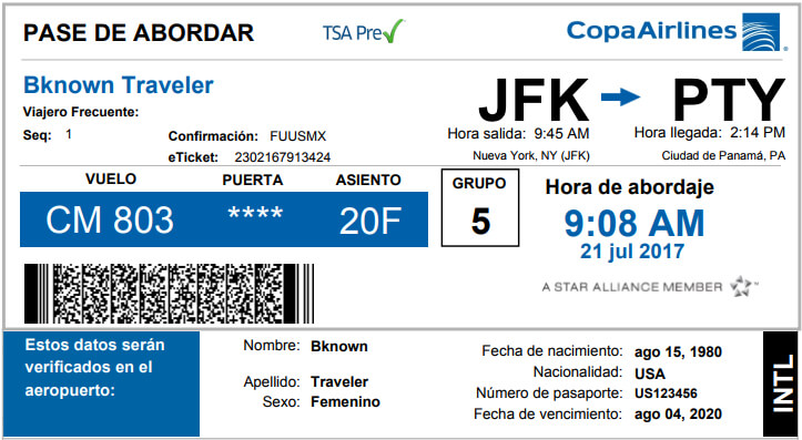 tsa-Web Check-In boarding pass
