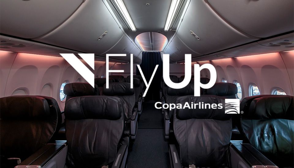 Fly Up logo in an airplane cabin