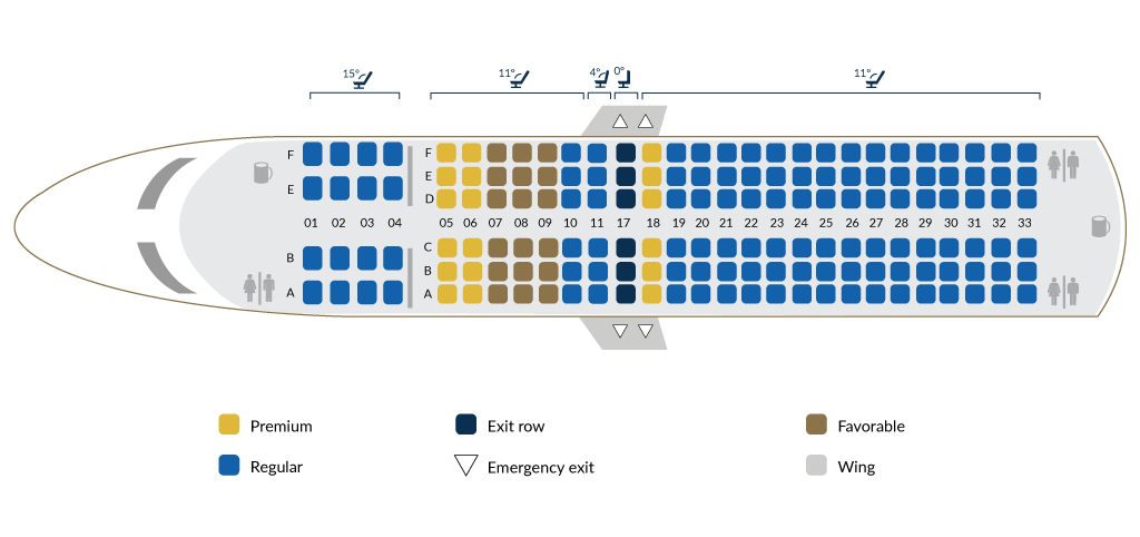 Boeing 737-800 A - seat map
