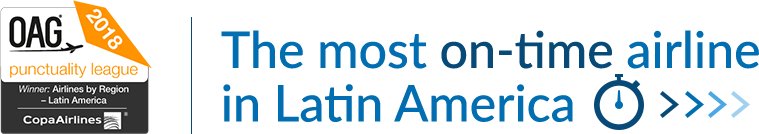 Copa Airlines is recognized for the fifth consecutive year as the most punctual Airline in Latin America by FlightStats and OAG