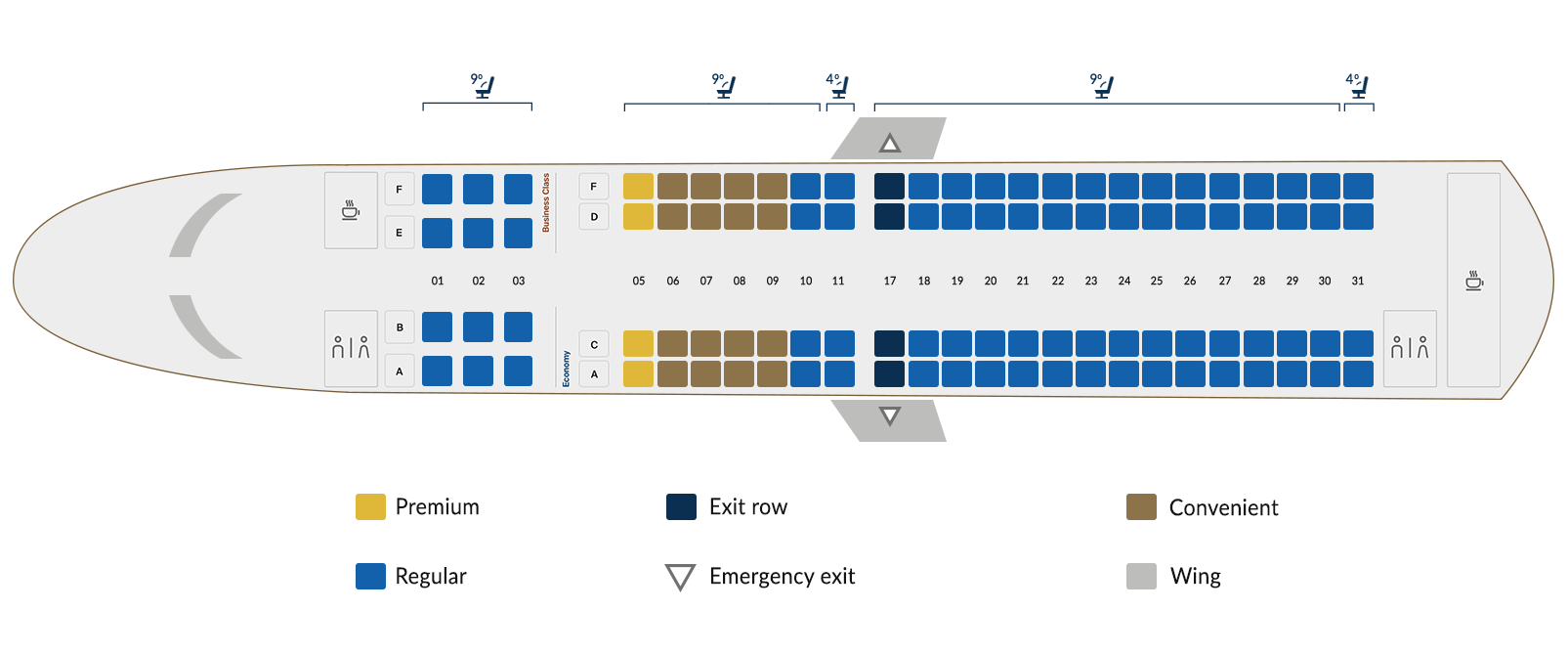 Embraer 190A B - seat map