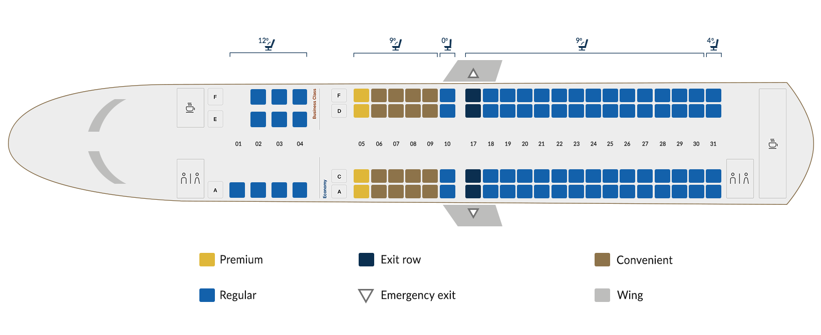 Embraer 190A A - seat map