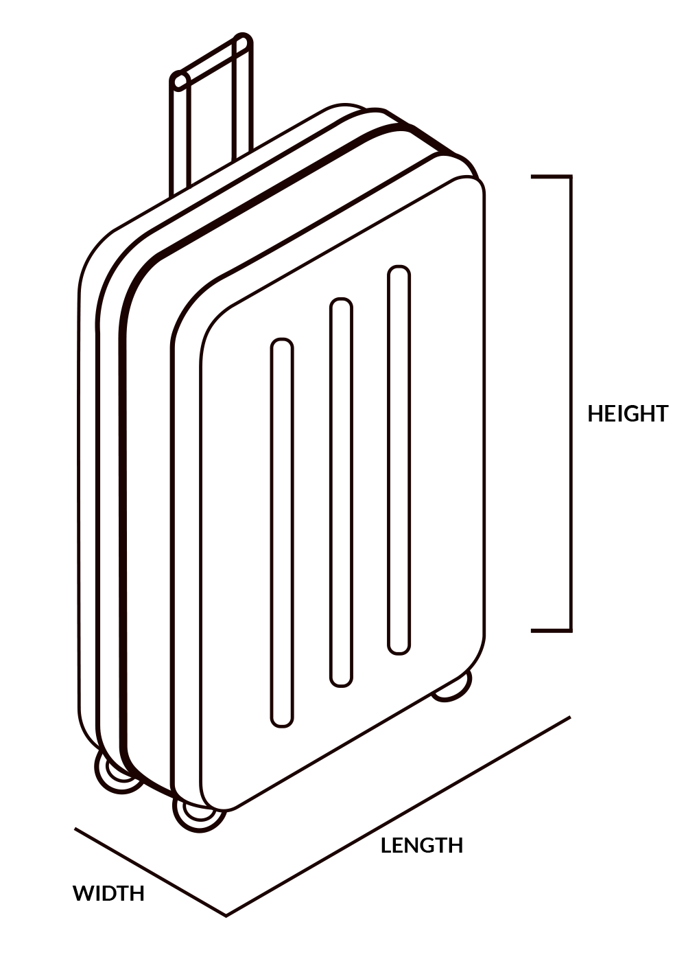 illustration of the Length, width and height for the checked baggage