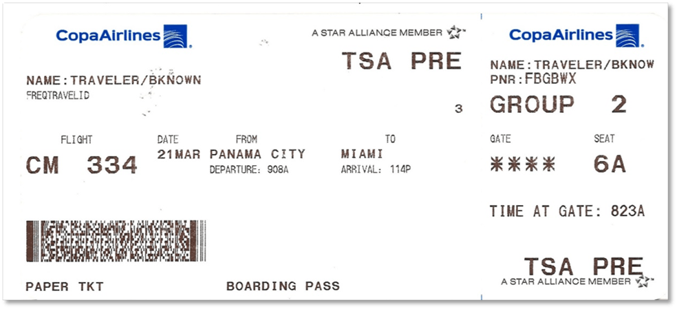 tsa-Printed boarding pass