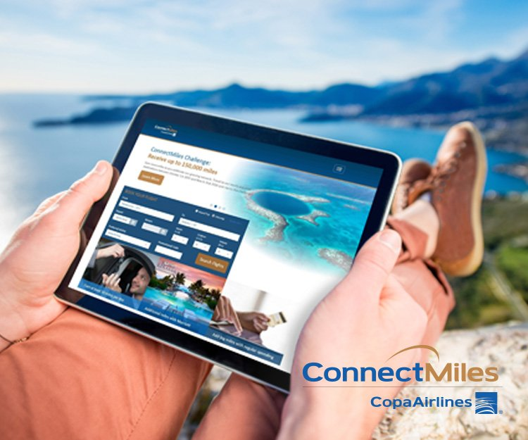 Image - Browsing in a tablet within connectmiles.com