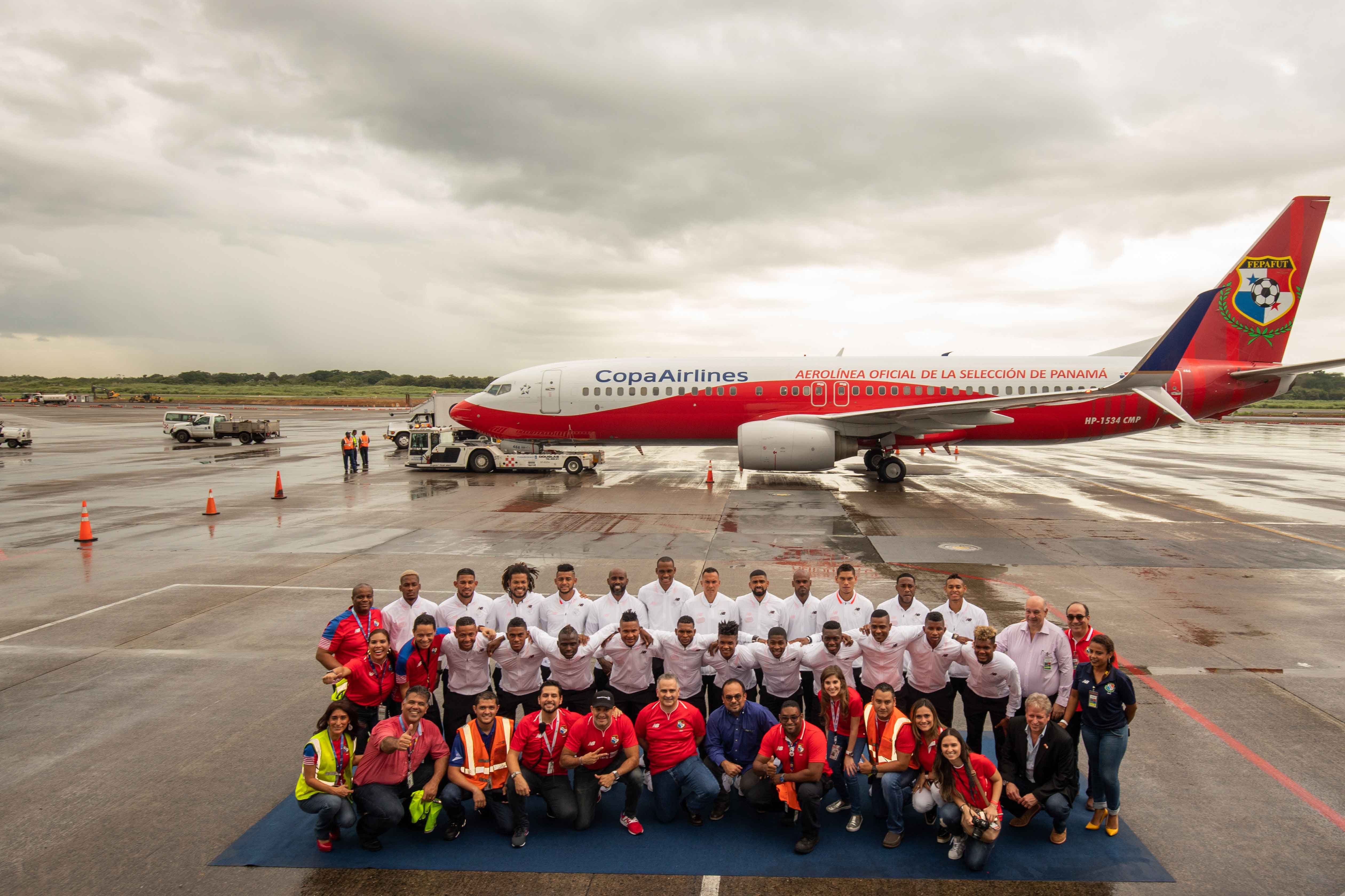 Panama's national soccer team farewell with from Copa Airlines members, National soccer team airplane on the background