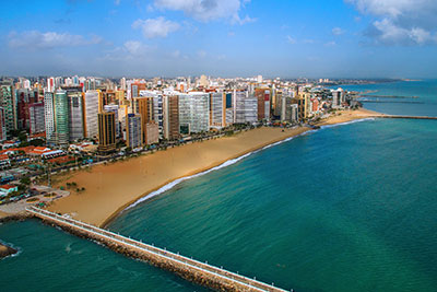 Beach infront of Buildings in Fortaleza, Brazil
