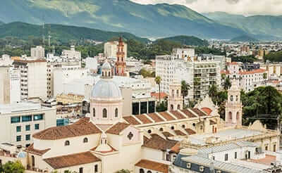 Aerial view of the city of Salta