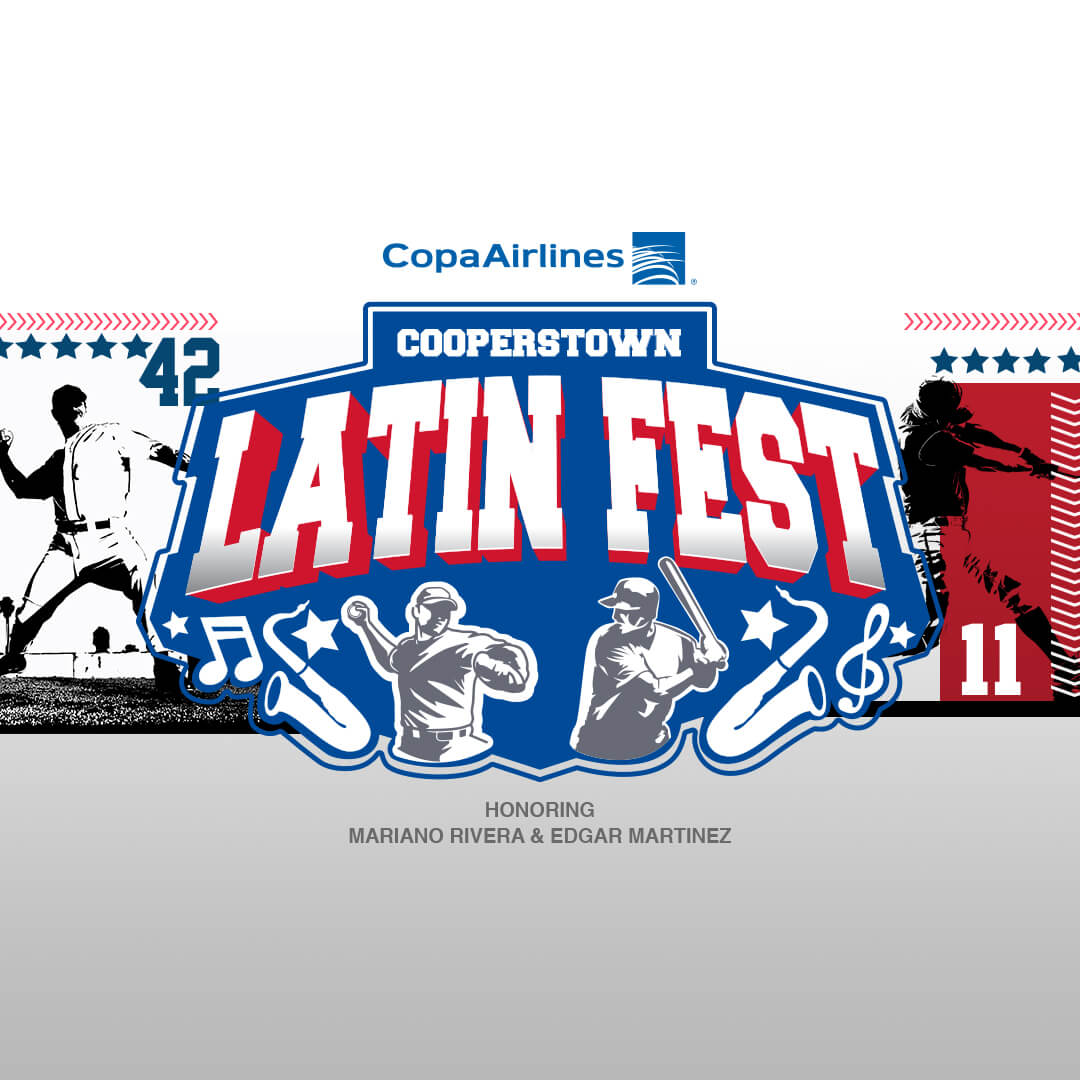 Mariano Rivera waving and event logo, Copa Airlines' Cooperstown Latin Fest - Honoring Mariano Rivera and Edgar Martinez